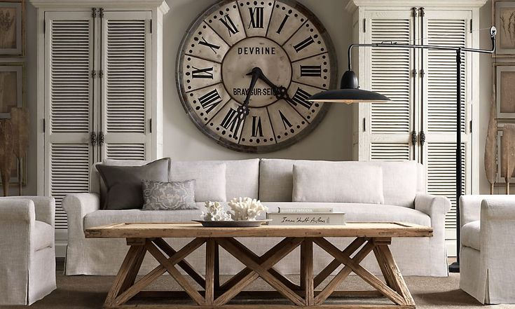 Restoration Hardware - Clock - Living Room - Coffee Table - Lighting - Couch