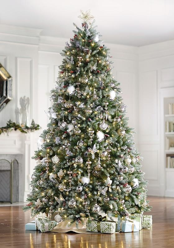 the dunhill fir faux christmas tree includes clear lights snow red berries and cones - Prelit Christmas Trees