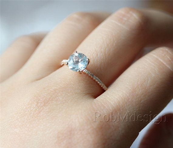 14k Rose Gold Aquamarine Engagement Ring VS 6.5mm by RobMdesign- this one in white gold...