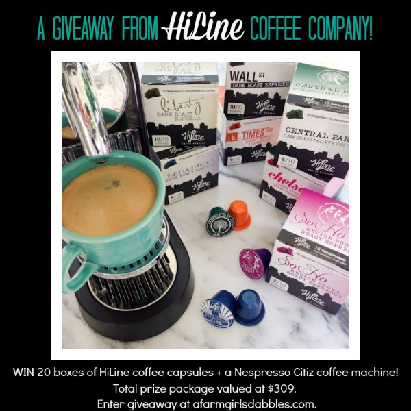 HiLine Coffee #giveaway - win 20 boxes of HiLine coffee capsules + a Nespresso Citiz machine ($309 total value) - enter at afarmgirlsdabbles...