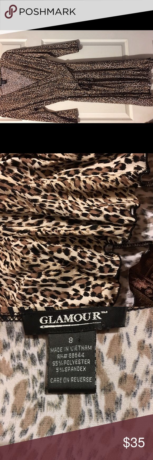 Glamorous Cheetah print dress Stretchy, ruffle bottom Cheetah print dress with matching belt Glamorise Dresses