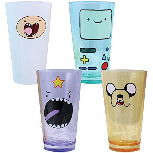 (Set/4) Collectible Cartoon Networks Adventure Time Characters Pint Glasses @ niftywarehouse.com #NiftyWarehouse #AdventureTime #TVShow #Cartoon #Show #CartoonNetwork