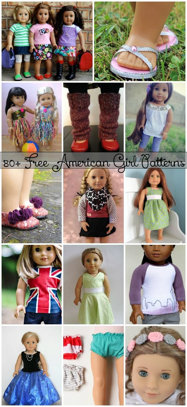 """80+ Free American Girl 18"""" Doll Patterns - Don't overpay for clothes for your American Girl! You can sew some simple pieces using these free patterns!"""