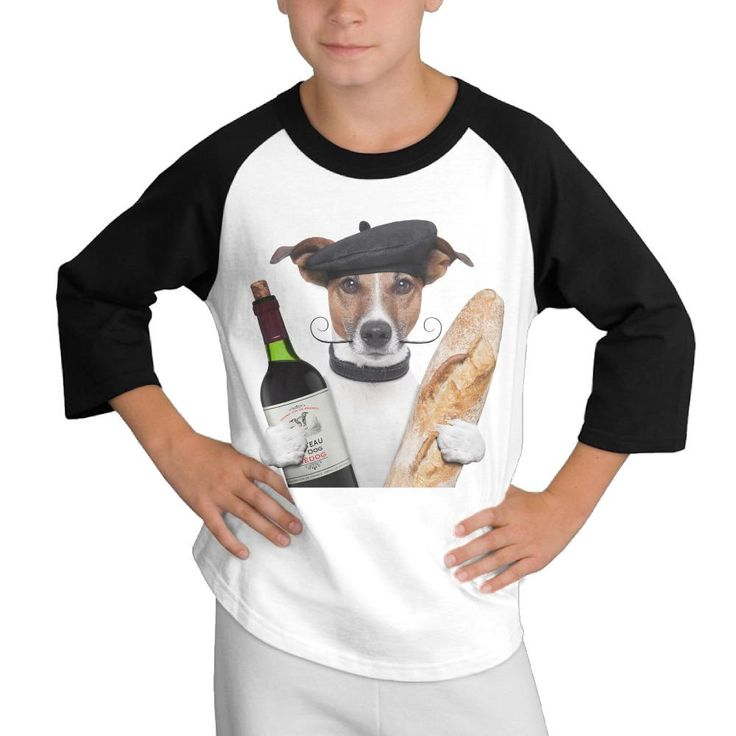 Bread wine and dog doctor Custom Cotton Round Neck Print Black Long Sleeve student  Cartoon Fitness Casual clothes