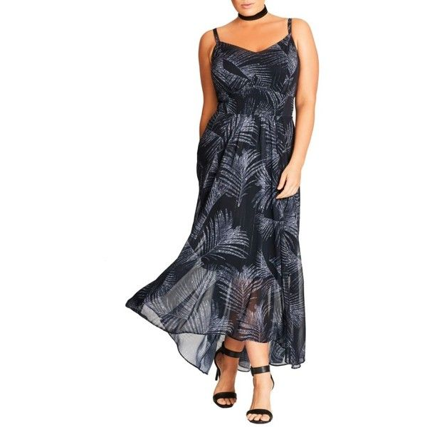 Plus Size Women's City Chic Party Time Print Chiffon Maxi Dress ($80) ❤ liked on Polyvore featuring dresses, plus size, silver shimmer palm, plus size chiffon dresses, chiffon dresses, chiffon high-low dresses, plus size going out dresses and chiffon maxi dresses