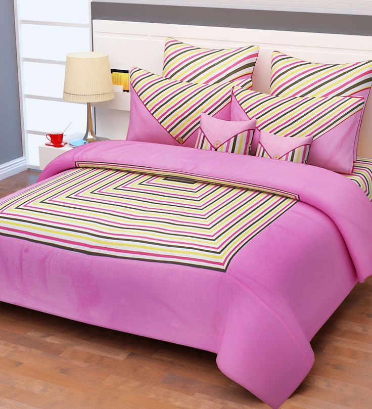 pink reactive double bed sheet set of 2 pillow with 2. Black Bedroom Furniture Sets. Home Design Ideas