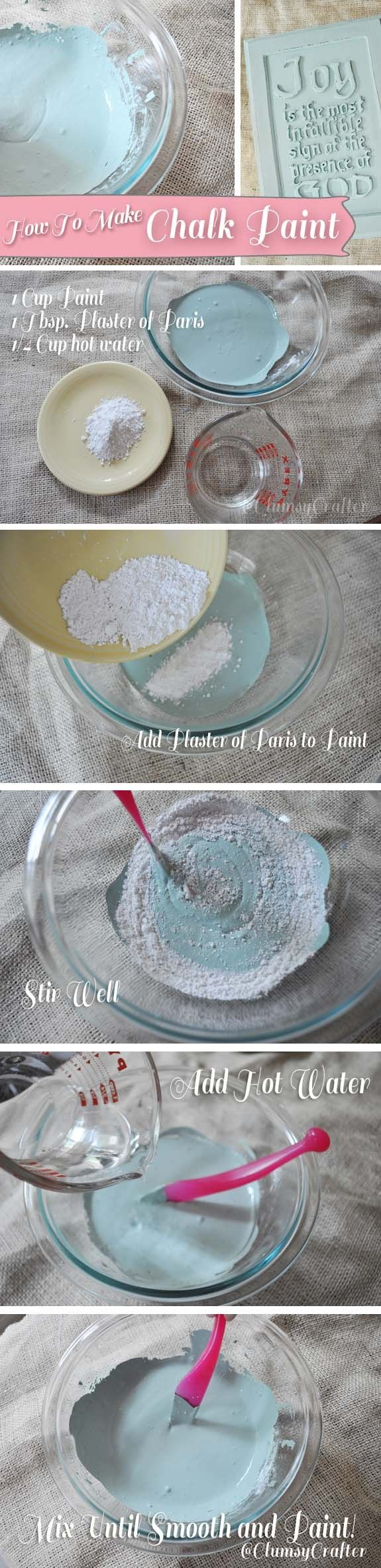 Recipes for chalk paint ~  Click any profile for recipes ~ http://www.pinterest.com/gerdabuurvrou/how-to-make-chalk-paint/
