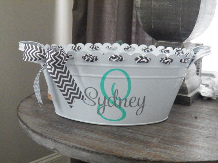 Monogrammed Chevron White Metal Bucket Easter Basket