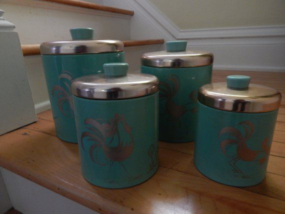 Ransburg Teal And Copper Metal Canister Set With Chickens