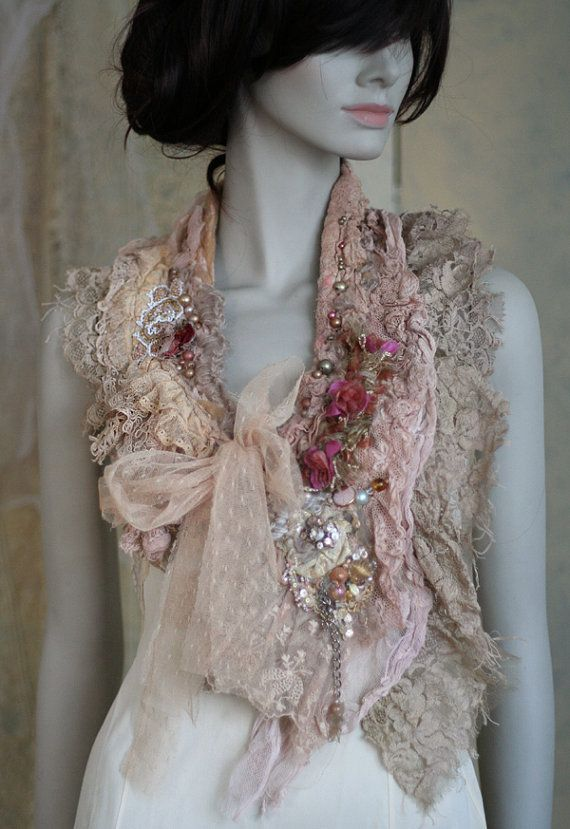 RESERVED for AC extravagant shabby chic neck wrap by FleursBoheme