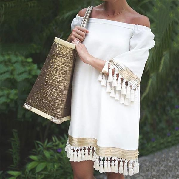 Sexy Off-The-Shoulder Tassel Dress - #girl #dresses #outfits #casual #fashion