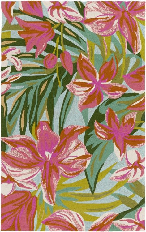 We love this new Splash of the Tropics area hand-hooked area rug. Full of island and tropical color with large bright floral and palm images creating an enchanting look that is timeless.