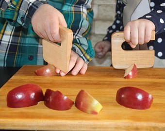 Safe wooden knife for kids, kitchen toy, vegetable and fruit cutter, chopper