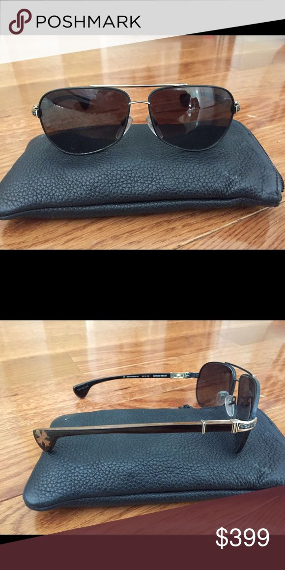 100% AUTHENTIC CHROME HEARTS AVIATOR SUNGLASSES Authentic bought for over $1500 only worn once.  Grand beast. Look brand new.  Case included.  Black lenses with gold rim with tortoiseshell sides. Chrome Hearts Accessories Sunglasses
