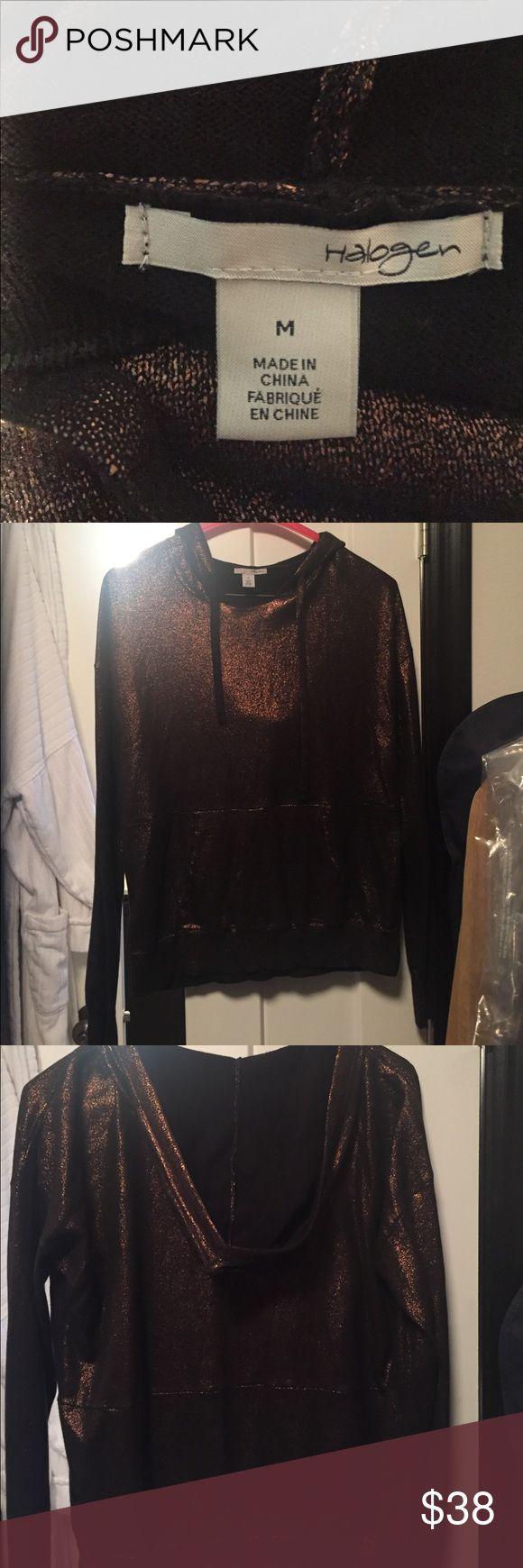 Halogen copper metallic hoody with kangaroo pouch Copper metallic hoody worn once brand halogen Halogen Tops Sweatshirts & Hoodies