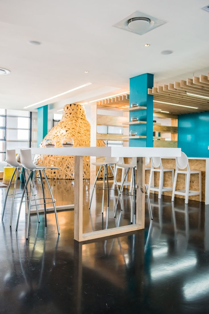 Stimulating  connectivity in the workplace is paramount   Designed by Inhouse Brand Architects #inhouse #officespace #colour #creative #modern