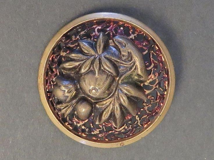 Antique Victorian Tinted & Pierced Metal Button - Plant Life, Fruit  $12