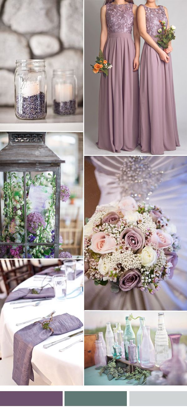 dark lavender and green wedding color ideas with lace bridesmaid dresses