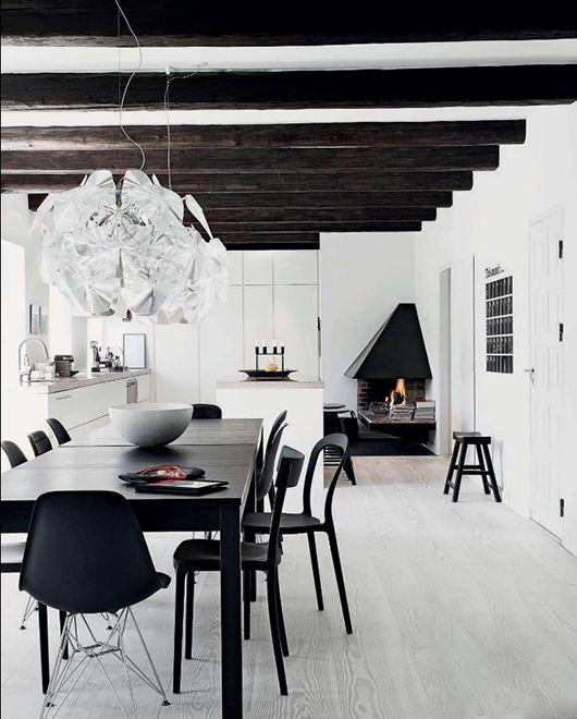 Black And White Dining Room Home Modern Contemporary Interior Design Decor