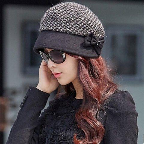Fashion bow plaid beret hat for women warm bucket hat