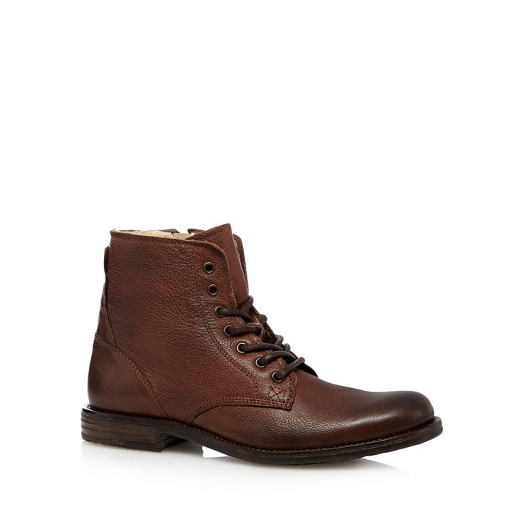 Perfect for the colder months, these stylish men's boots come from our exclusive RJR.John Rocha designer range. In brown leather, they feature a cosy borg fleece lining, mock laces and a side zip fastening.