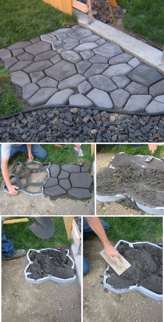 DIY Home Project: Cement Cobblestone Path. They look fantastic!