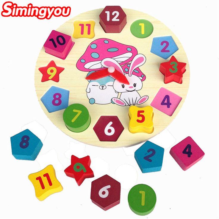 Simingyou Wooden Toys Cartoon Children Educational Toy Digital Geometry Clock Baby Boy Girl Puzzles WRB23