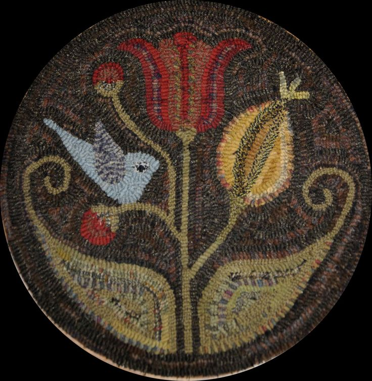 The Red Saltbox Fraktur Bird Tulip Round Rug Hooking Pattern