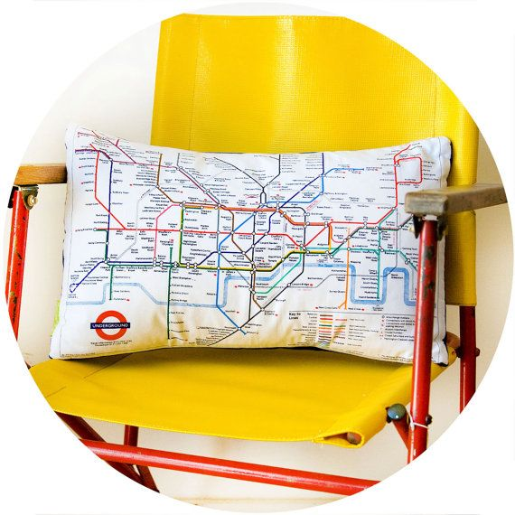 Upcycled London Underground Tube Map Cushion by HuntedandStuffed