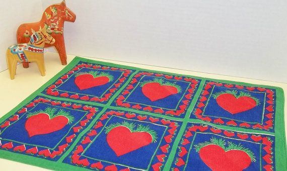 Scandinavian Fabric Placemat Printed Hearts by MereZeDotesVintage