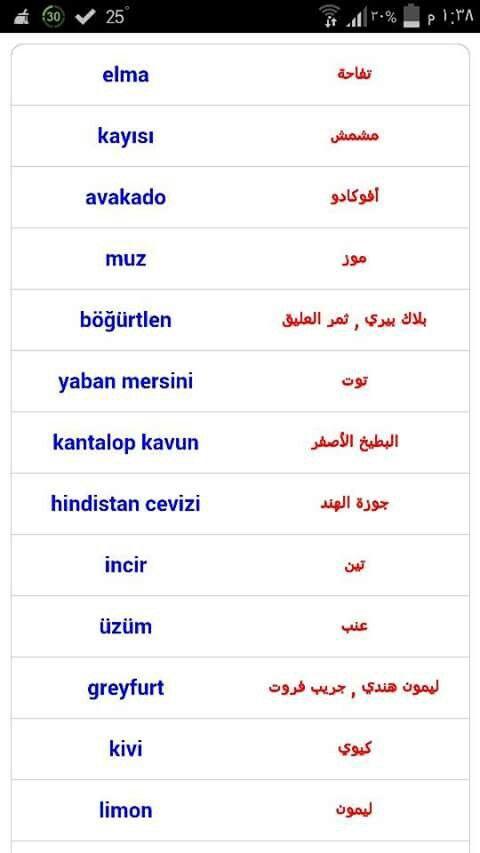 الفواكه باللغة التركية