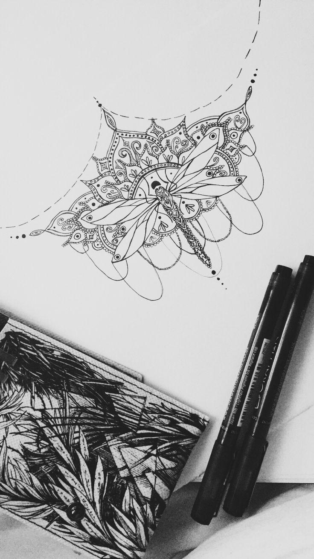 sternum tattoo design dragonfly mandala henna