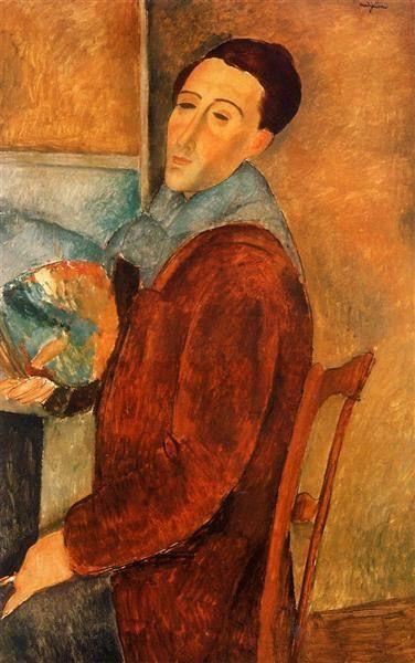 Амедео Модильяни (1884—1924). «Автопортрет». 1919 г. 64,5x100. Музей искусств Сан-Паулу.