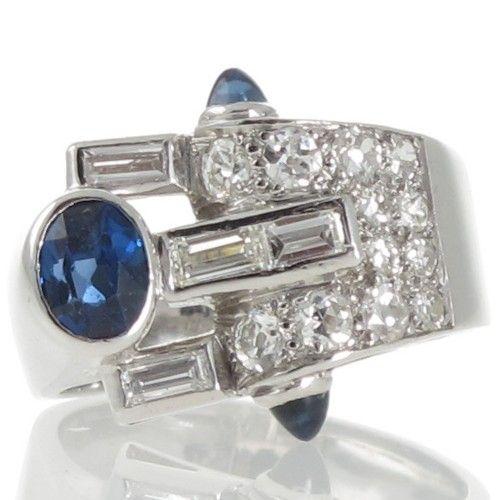 A rare sapphire & diamond retro ring. Circa 1940's. #Rutherford #Melbourne