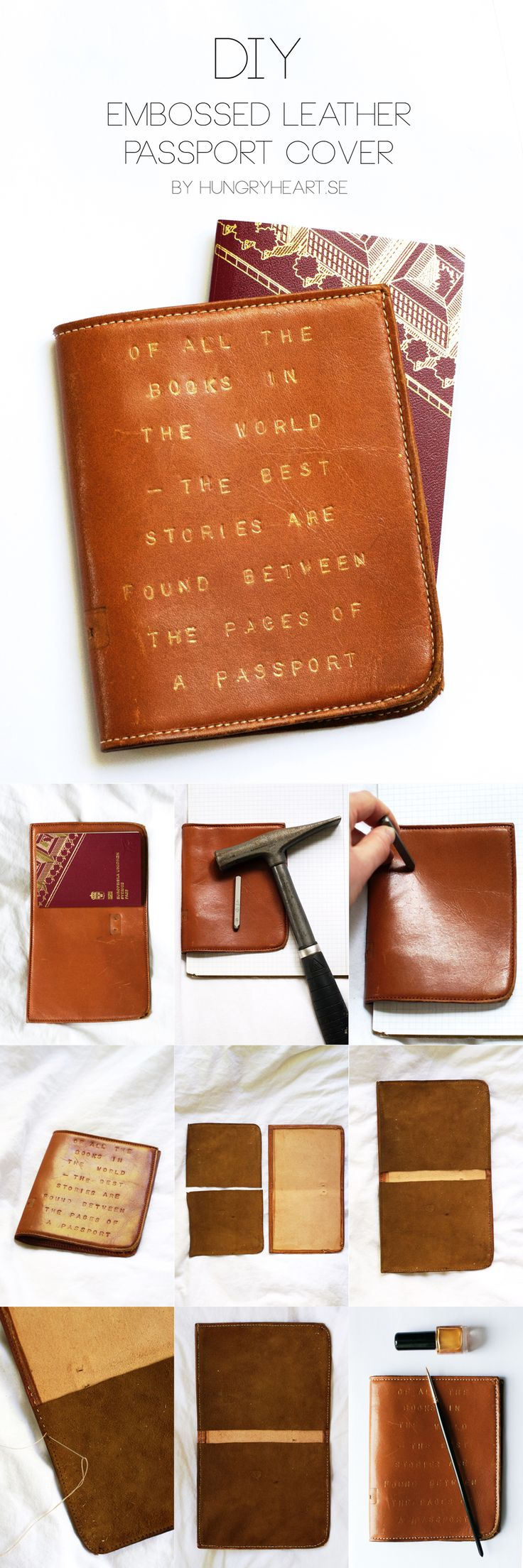 DIY Embossed Leather Passport Cover Tutorial | HungryHeart.se