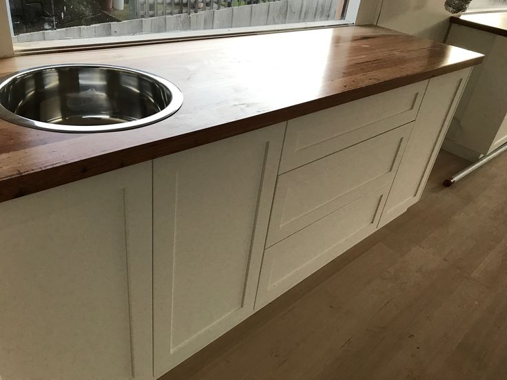 Recycled messmate benches with caravan sink