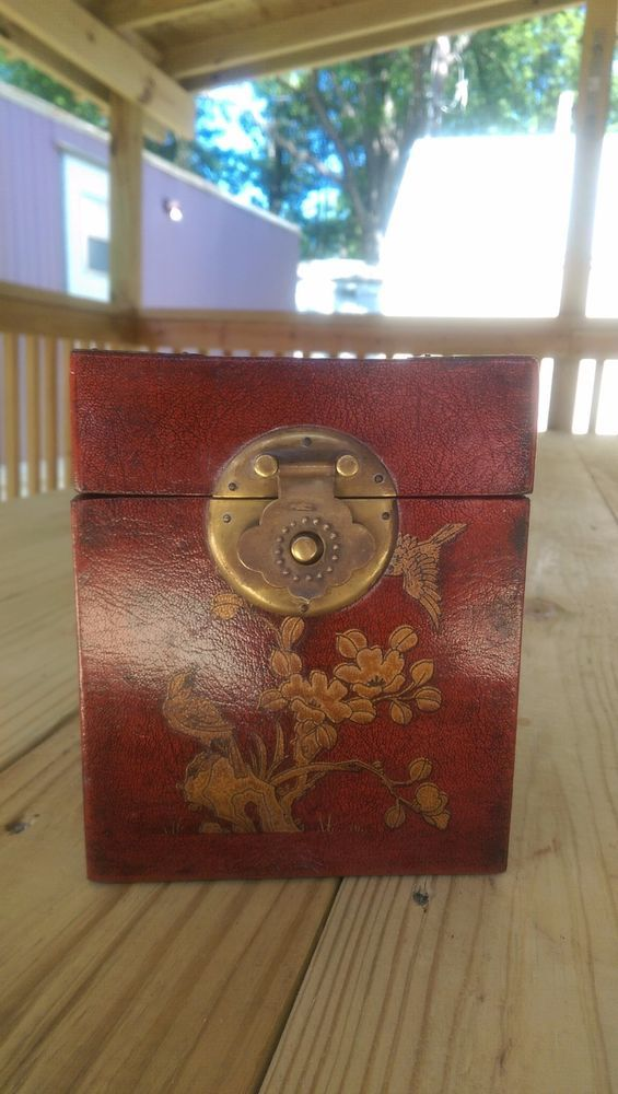 Asian Leather Covered Wood with Brass Trim Tissue box holder