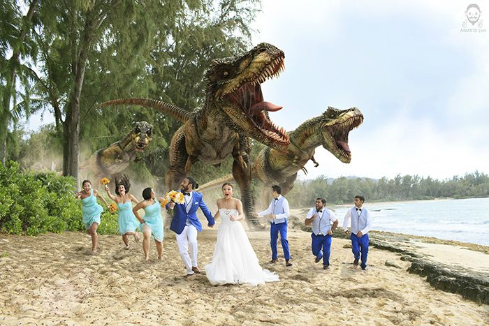 The Attack of The Photoshopped Dinosaurs #1: Reddit user aimanimation was inspired to become a 3D Artist because of the film Jurassic Park, so naturally, he had to put his skills to the test having dinosaurs chase down his wedding party