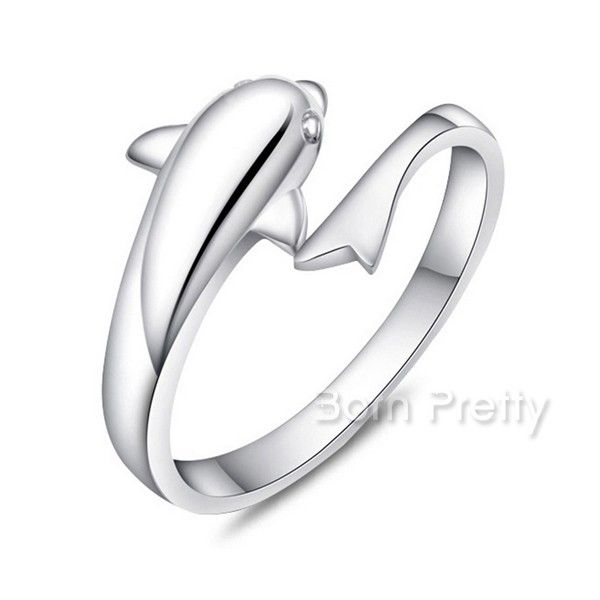 $2.50 1Pc Cute Dolphin Fashion Amazing Free Size Ring Open Adjustable Rings - BornPrettyStore.com