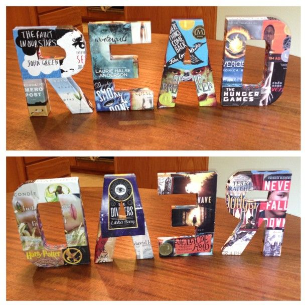 READ project using craft letters from Hobby Lobby and old book covers!