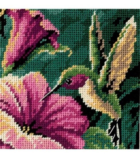 Dimensions Mini Needlepoint Kit Hummingbird Drama