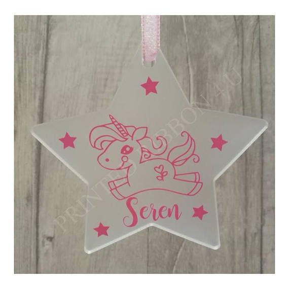 Personalised Fantasy Cute Unicorn Design Star Christmas
