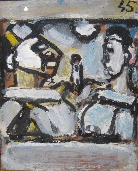 """Georges Rouault, ''Couple,'' 1945, gouache, 11""""  x  9"""""""