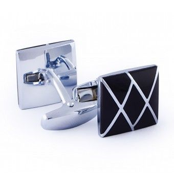 Sterling Silver Square Shape Black Cufflinks