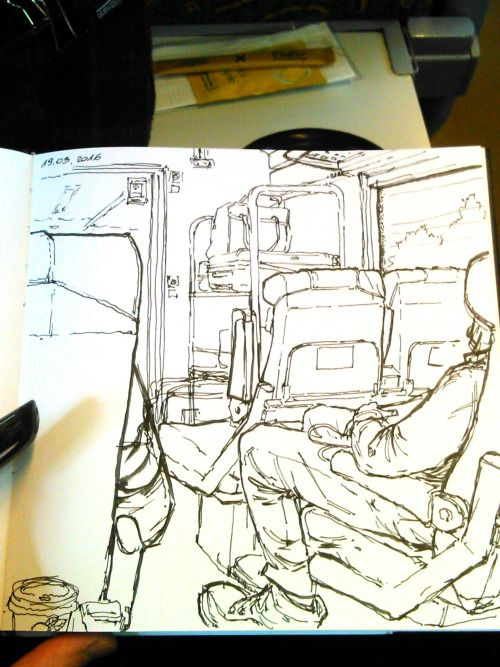 Sketching on train