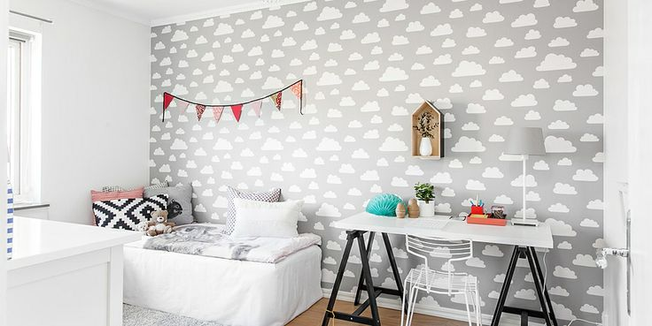 kids room with cloud wallpaper, I like the wallpaper for myself