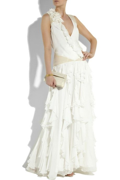 Matthew Williamson Ivory Silk-chiffon Waterfall Gown