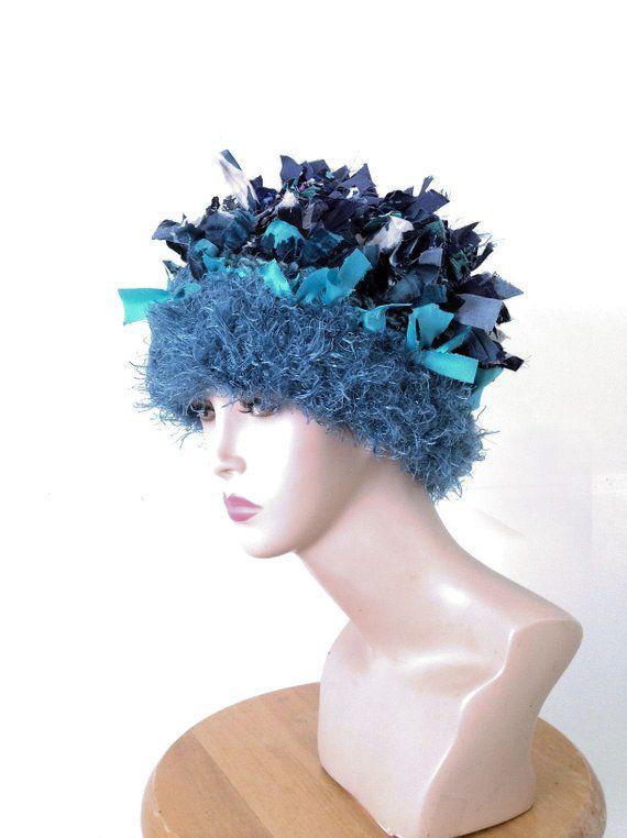 00ef14910b879 Crochet hat beanie crazy hats for women ooak boho blue hat millinery bucket  hat boho wearable art shabby chic style bonnet chemo hat