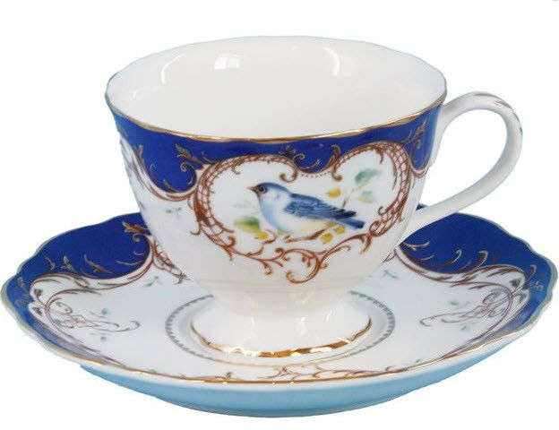 2 Royal Blue Bird Porcelain Tea Cups and Saucers