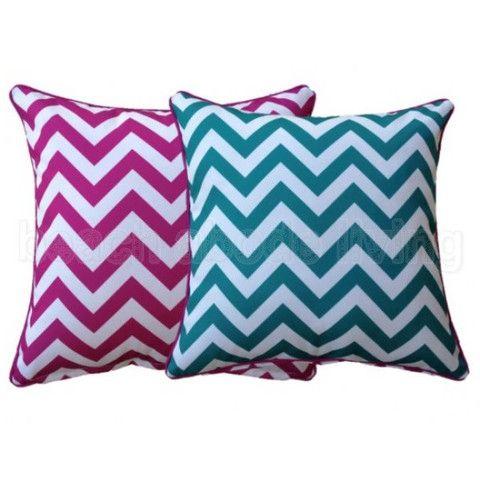 Chevron Cushion - Aquamarine & Pink 45cm